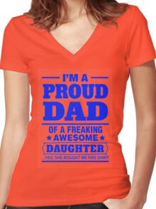 Proud Dad - Father's Day Women's Fitted V-Neck T-Shirt