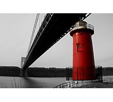 Little Red Light House - Background B&W Photographic Print