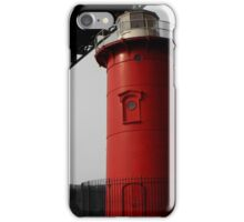 Little Red Light House - Background B&W iPhone Case/Skin