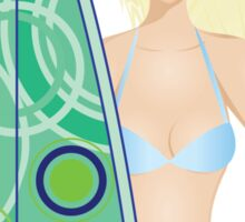 Girl with Surfing Board 2 Sticker