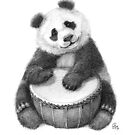 Panda playing percussion G140 by schukinart