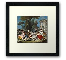 Francois Boucher - The Bird Catchers 1748. Picnic painting: picnic time, man and woman, holiday, people, family, travel, garden, outdoor meal, eating food, nautical panorama, picnic Framed Print