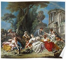 Francois Boucher - The Bird Catchers 1748. Picnic painting: picnic time, man and woman, holiday, people, family, travel, garden, outdoor meal, eating food, nautical panorama, picnic Poster