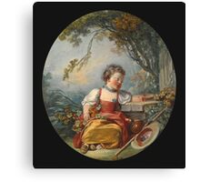 Francois Boucher - The Little Pilgrim. Girl portrait: cute girl, girly, female, pretty angel, child, beautiful dress, face with hairs, smile, little, kids, baby Canvas Print