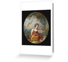 Francois Boucher - The Little Pilgrim. Girl portrait: cute girl, girly, female, pretty angel, child, beautiful dress, face with hairs, smile, little, kids, baby Greeting Card