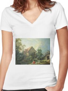 Francois Boucher - The Mill. Lake landscape: trees, river, land, forest, coast seaside, waves and beach, marine naval navy, lagoon reflection, sun and clouds, nautical panorama, lake Women's Fitted V-Neck T-Shirt