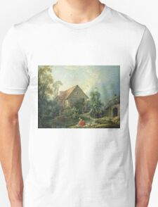 Francois Boucher - The Mill. Lake landscape: trees, river, land, forest, coast seaside, waves and beach, marine naval navy, lagoon reflection, sun and clouds, nautical panorama, lake Unisex T-Shirt