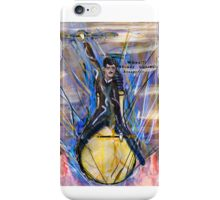 Nikola Tesla Riding The Light Bulb inverted background iPhone Case/Skin