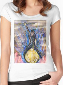Nikola Tesla Riding The Light Bulb inverted background Women's Fitted Scoop T-Shirt