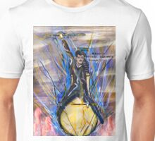 Nikola Tesla Riding The Light Bulb inverted background Unisex T-Shirt