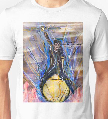 Nikola Tesla Riding The Light Bulb inverted background Unisex T-Shirt