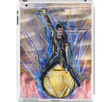 Nikola Tesla Riding The Light Bulb inverted background iPad Case/Skin