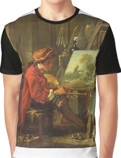 Francois Boucher - The Painter In His Studio. Man portrait: strong man, boy, male, beard, business suite, masculine, boyfriend, smile, manly, sexy men, mustache Graphic T-Shirt