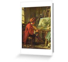 Francois Boucher - The Painter In His Studio. Man portrait: strong man, boy, male, beard, business suite, masculine, boyfriend, smile, manly, sexy men, mustache Greeting Card