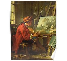 Francois Boucher - The Painter In His Studio. Man portrait: strong man, boy, male, beard, business suite, masculine, boyfriend, smile, manly, sexy men, mustache Poster