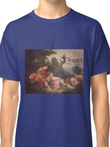 Francois Boucher - The Sleeping Shepherdess. Lovers portrait: sensual woman, woman and man, kiss, kissing lovers, love relations, lovely couple, family, valentine's day, sexy, romance, female and male Classic T-Shirt