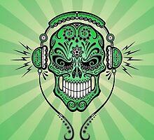 Green DJ Sugar Skull by Jeff Bartels