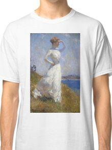 Frank Weston Benson - Sunlight. Woman portrait: sensual woman, girly art, female style, pretty women, femine, beautiful dress, cute, creativity, love, sexy lady, erotic pose Classic T-Shirt