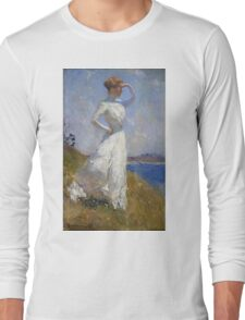 Frank Weston Benson - Sunlight. Woman portrait: sensual woman, girly art, female style, pretty women, femine, beautiful dress, cute, creativity, love, sexy lady, erotic pose Long Sleeve T-Shirt