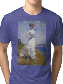 Frank Weston Benson - Sunlight. Woman portrait: sensual woman, girly art, female style, pretty women, femine, beautiful dress, cute, creativity, love, sexy lady, erotic pose Tri-blend T-Shirt