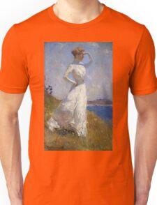 Frank Weston Benson - Sunlight. Woman portrait: sensual woman, girly art, female style, pretty women, femine, beautiful dress, cute, creativity, love, sexy lady, erotic pose Unisex T-Shirt