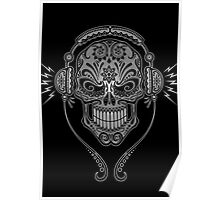 Gray and Black DJ Sugar Skull Poster