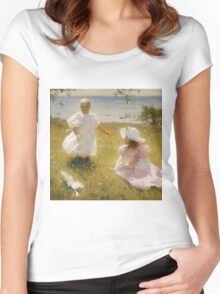 Frank Weston Benson - The Sisters. Child portrait: cute baby, kid, children, pretty angel, child, kids, lovely family, boys and girls, boy and girl, mom mum mammy mam, childhood Women's Fitted Scoop T-Shirt
