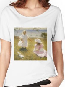 Frank Weston Benson - The Sisters. Child portrait: cute baby, kid, children, pretty angel, child, kids, lovely family, boys and girls, boy and girl, mom mum mammy mam, childhood Women's Relaxed Fit T-Shirt