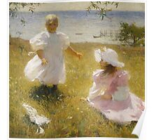 Frank Weston Benson - The Sisters. Child portrait: cute baby, kid, children, pretty angel, child, kids, lovely family, boys and girls, boy and girl, mom mum mammy mam, childhood Poster
