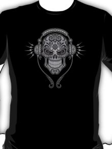 Gray and Black DJ Sugar Skull T-Shirt