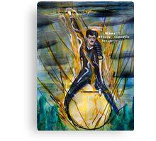 Nikola Tesla Riding The Light Bulb Canvas Print