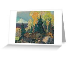 Franklin Carmichael - Bay Of Islands . Mountains landscape: mountains, rocks, rocky nature, sky and clouds, trees, peak, forest, rustic, hill, travel, hillside Greeting Card