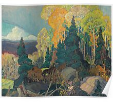 Franklin Carmichael - Bay Of Islands . Mountains landscape: mountains, rocks, rocky nature, sky and clouds, trees, peak, forest, rustic, hill, travel, hillside Poster