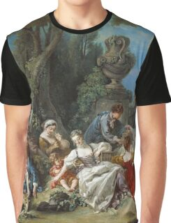 Francois Boucher - The Bird Catchers 1748. Picnic painting: picnic time, man and woman, holiday, people, family, travel, garden, outdoor meal, eating food, nautical panorama, picnic Graphic T-Shirt
