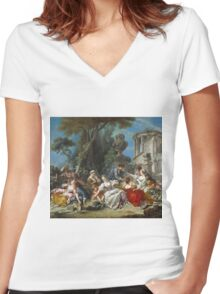 Francois Boucher - The Bird Catchers 1748. Picnic painting: picnic time, man and woman, holiday, people, family, travel, garden, outdoor meal, eating food, nautical panorama, picnic Women's Fitted V-Neck T-Shirt