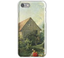 Francois Boucher - The Mill. Lake landscape: trees, river, land, forest, coast seaside, waves and beach, marine naval navy, lagoon reflection, sun and clouds, nautical panorama, lake iPhone Case/Skin