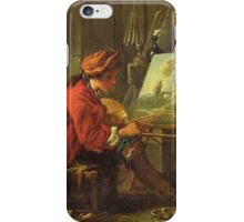 Francois Boucher - The Painter In His Studio. Man portrait: strong man, boy, male, beard, business suite, masculine, boyfriend, smile, manly, sexy men, mustache iPhone Case/Skin
