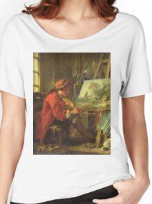Francois Boucher - The Painter In His Studio. Man portrait: strong man, boy, male, beard, business suite, masculine, boyfriend, smile, manly, sexy men, mustache Women's Relaxed Fit T-Shirt