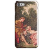 Francois Boucher - The Sleeping Shepherdess. Lovers portrait: sensual woman, woman and man, kiss, kissing lovers, love relations, lovely couple, family, valentine's day, sexy, romance, female and male iPhone Case/Skin