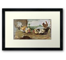 Frans Snyders - A Cock Fight. Bird painting: cute fowl, fly, wings, lucky, pets, wild life, animal, birds, little small, bird, nature Framed Print