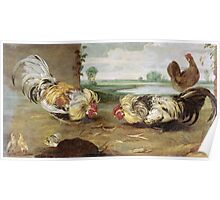 Frans Snyders - A Cock Fight. Bird painting: cute fowl, fly, wings, lucky, pets, wild life, animal, birds, little small, bird, nature Poster