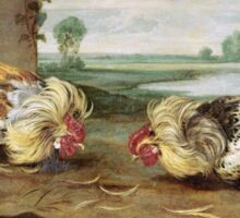 Frans Snyders - A Cock Fight. Bird painting: cute fowl, fly, wings, lucky, pets, wild life, animal, birds, little small, bird, nature Sticker