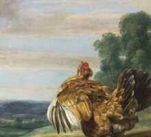 Frans Snyders - A Hawk And A Brood Hen 1646. Bird painting: cute fowl, fly, wings, lucky, pets, wild life, animal, birds, little small, bird, nature Sticker