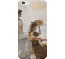 Frank Weston Benson - Summer Day. Woman portrait: sensual woman, girly art, female style, pretty women, femine, beautiful dress, cute, creativity, love, sexy lady, erotic pose iPhone Case/Skin
