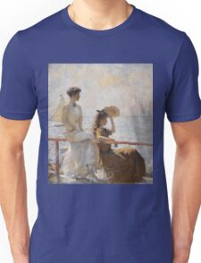 Frank Weston Benson - Summer Day. Woman portrait: sensual woman, girly art, female style, pretty women, femine, beautiful dress, cute, creativity, love, sexy lady, erotic pose Unisex T-Shirt