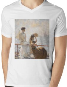 Frank Weston Benson - Summer Day. Woman portrait: sensual woman, girly art, female style, pretty women, femine, beautiful dress, cute, creativity, love, sexy lady, erotic pose Mens V-Neck T-Shirt