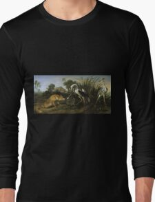 Frans Snyders - Fable Of The Fox And The Heron. Bird painting: cute fowl, fly, wings, lucky, pets, wild life, animal, birds, little small, bird, nature Long Sleeve T-Shirt