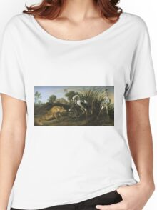 Frans Snyders - Fable Of The Fox And The Heron. Bird painting: cute fowl, fly, wings, lucky, pets, wild life, animal, birds, little small, bird, nature Women's Relaxed Fit T-Shirt