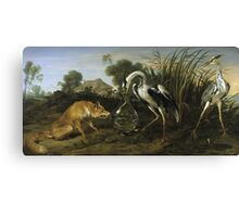 Frans Snyders - Fable Of The Fox And The Heron. Bird painting: cute fowl, fly, wings, lucky, pets, wild life, animal, birds, little small, bird, nature Canvas Print
