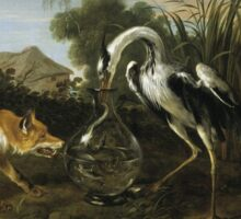Frans Snyders - Fable Of The Fox And The Heron. Bird painting: cute fowl, fly, wings, lucky, pets, wild life, animal, birds, little small, bird, nature Sticker